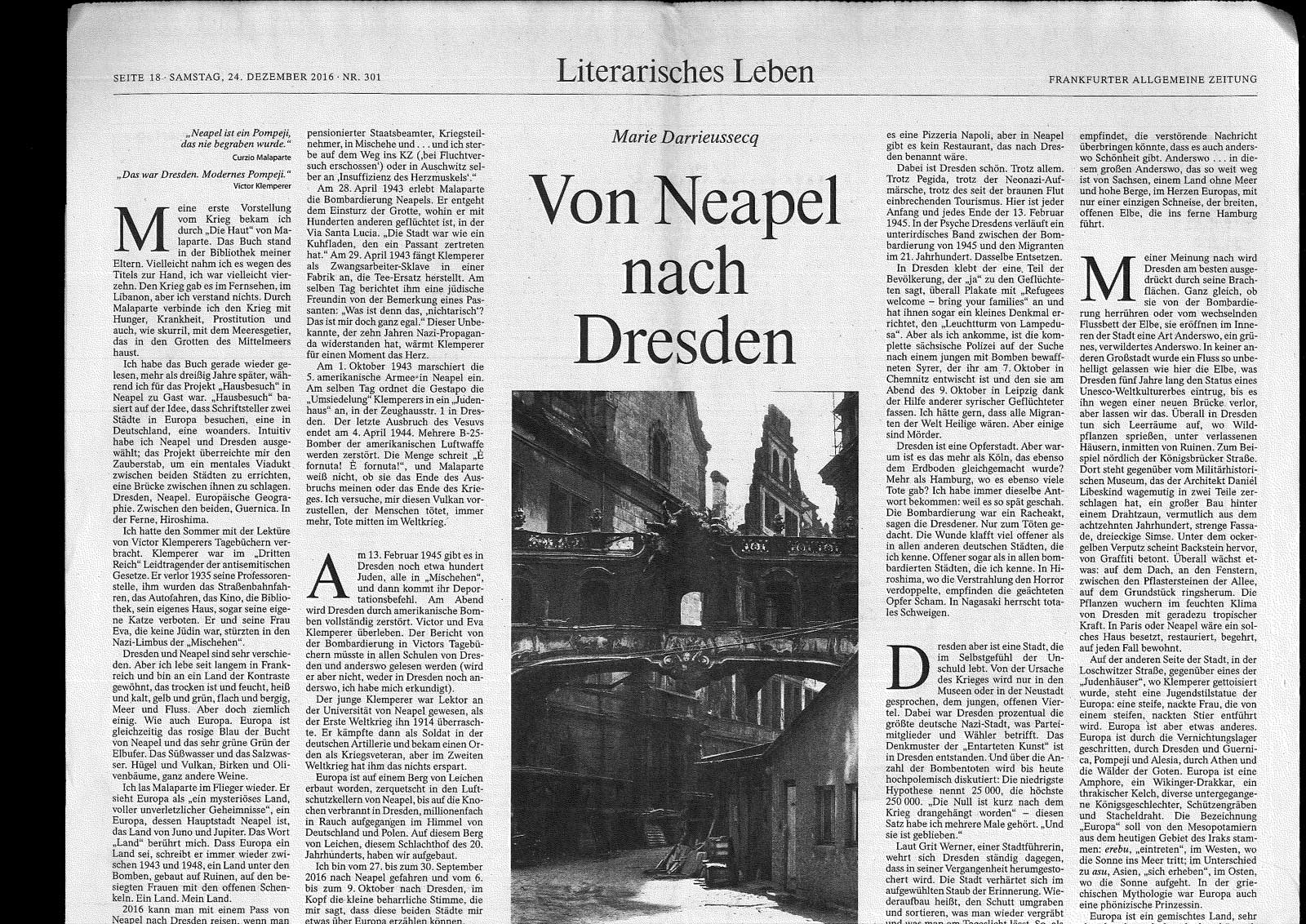 Von Neapel nach Dresden FAZ traduction du texte en allemand